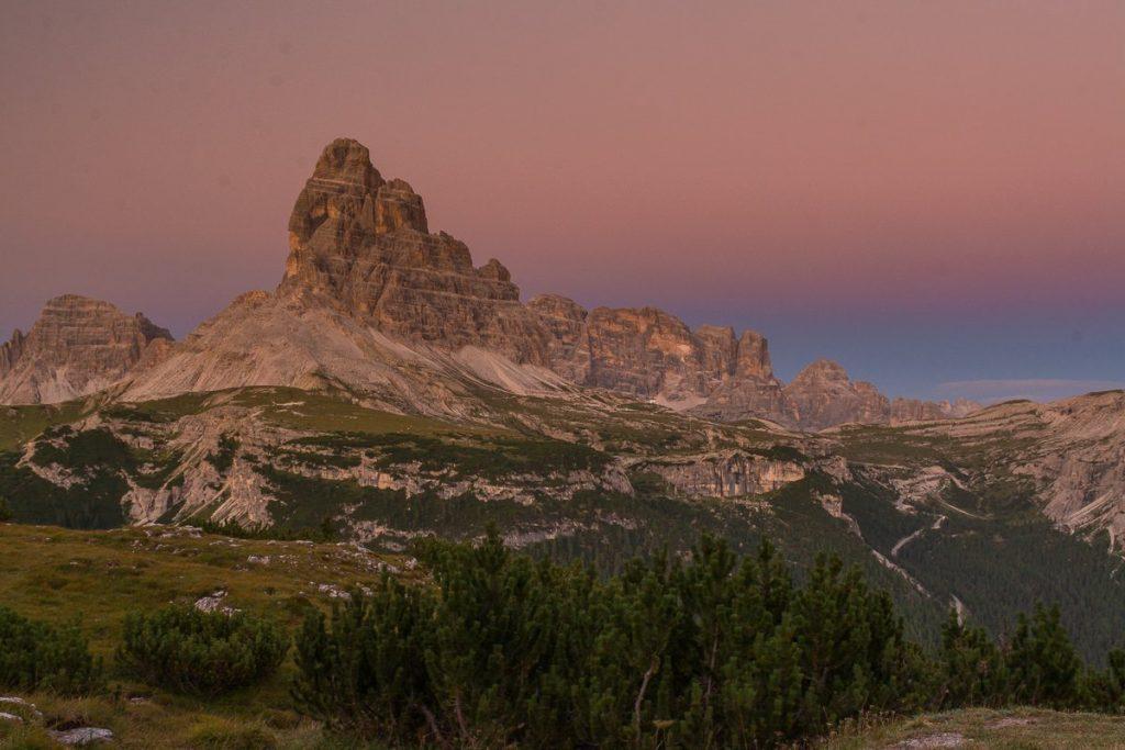 Tre Cime al tramonto dal rifugio Bosi